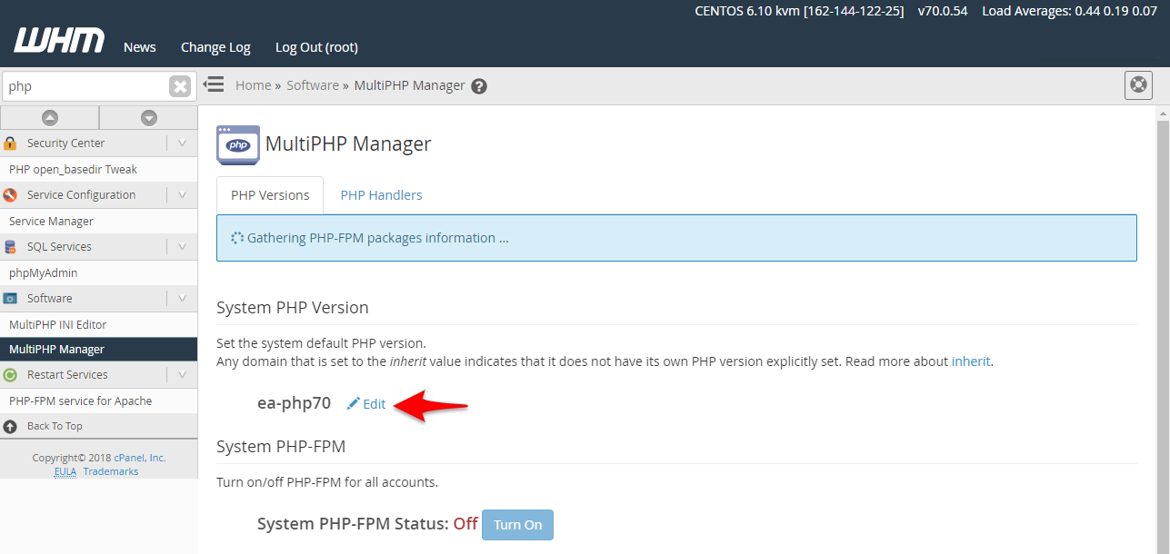 Steps to Modify PHP from WHM Panel