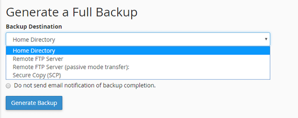 select backup destination